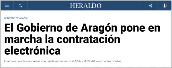 El Gobierno de Aragón pone en marcha la contratación electrónica