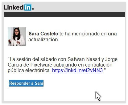 Linkedin-Sara Castelo te ha mencionado en una actualización